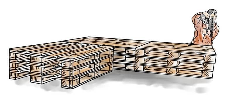 Basis des Palettensofas bauen