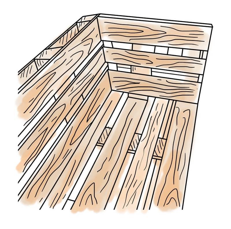 Eckteil des Palettensofas bauen